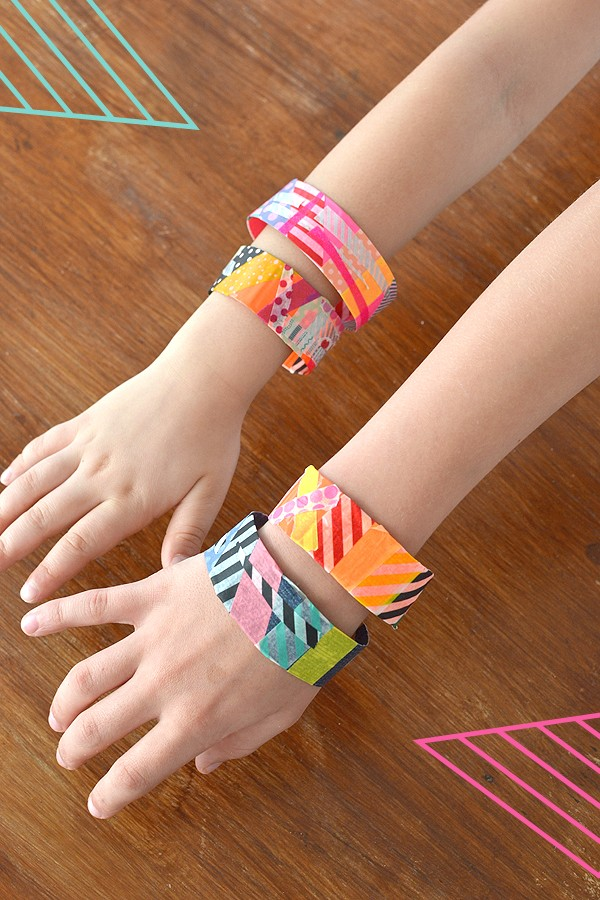 The best craft projects to make with kids, via We-Are-Scout.com: Washi tape bracelets.