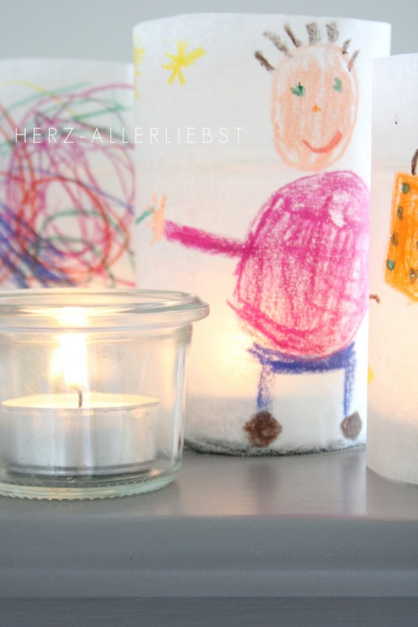The best kids craft projects, via We-Are-Scout.com: baking paper drawings made into lanterns.