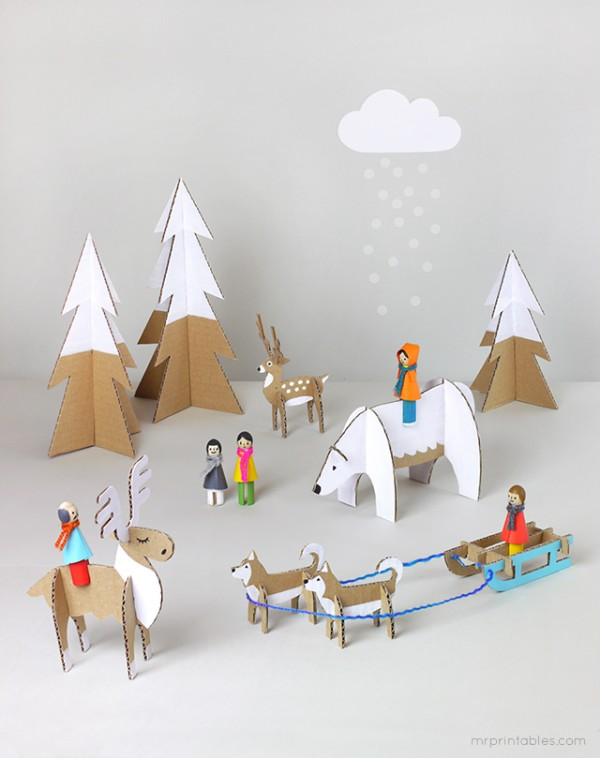 The best kids craft projects, via We-Are-Scout.com: make a peg dolls winter wonderland.