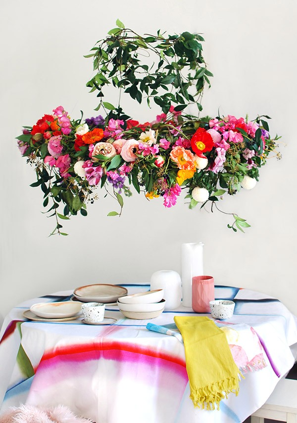 We created this gorgeous hanging flower chandelier from scratch in an afternoon for a statement centrepiece that looks incredible – and smells heavenly. Photo: Lisa Tilse for We Are Scout