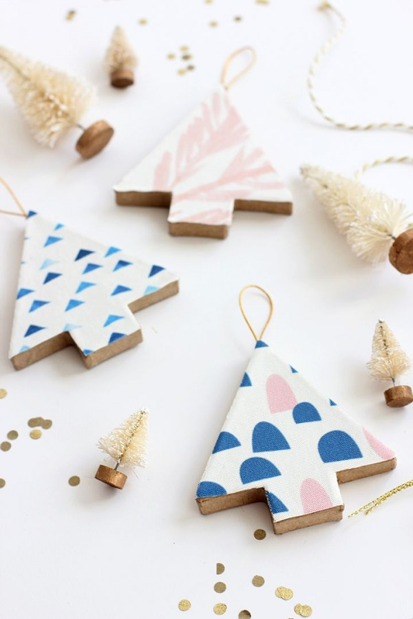 Make fabric-covered tree decorations by Alice and Lois.