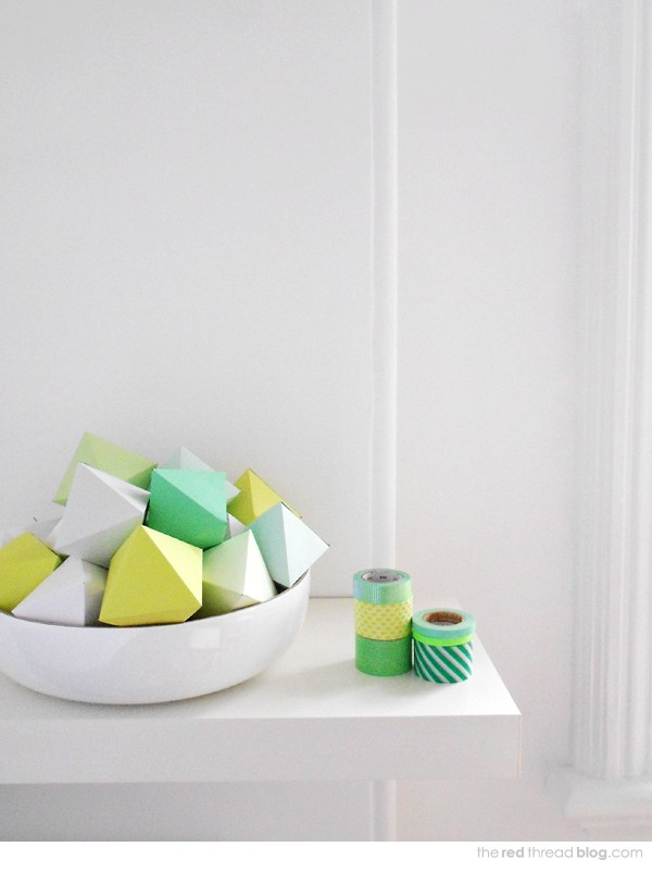 Make geo paper Christmas decorations by Lisa Tilse for We Are Scout.