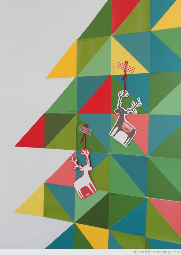 Make a paint chip Christmas tree by Lisa Tilse for We Are Scout.