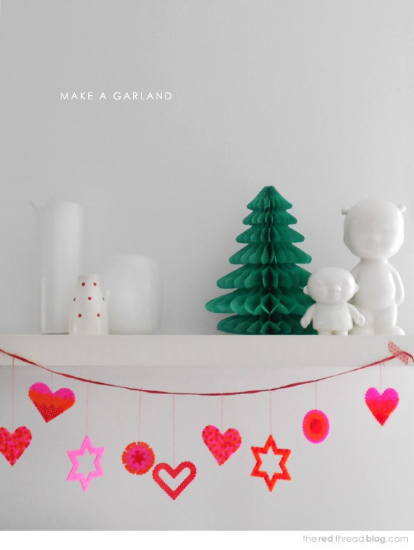 Make a Hama Bead Christmas garland by Lisa Tilse for We Are Scout.
