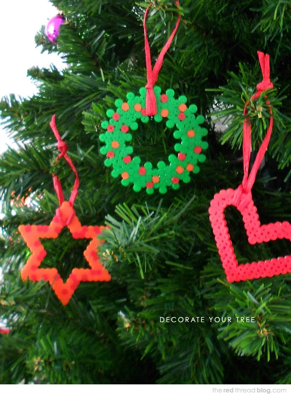 Make Hama Bead Christmas tree decorations by Lisa Tilse for We Are Scout.