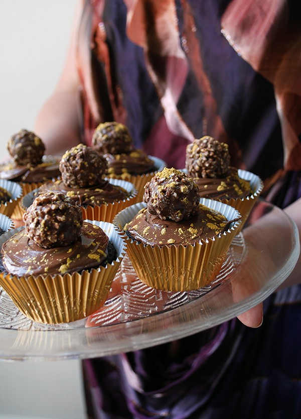 Gold-speckled Ferrero Rocher nutella cupcakes - pefect for Christmas. Photo by Lisa Tilse for We Are Scout. Photo: Lisa Tilse for We Are Scout