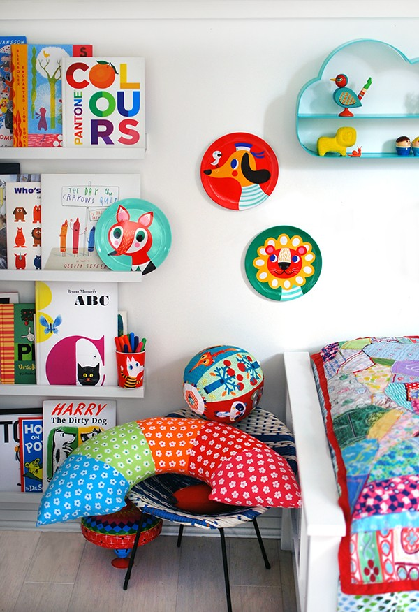 A cheap and easy kids bedroom makeover, with Ikea shelves, Kmart cloud shelves and Helen Dardik's gorgeous illustrated plates. Easy. Cheap. Brilliant.