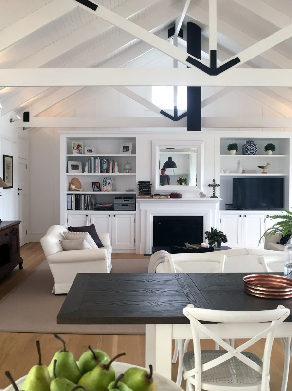 A fresh take on the Hamptons look. Living room, beach house. Photo by Rebecca Lowrey Boyd for We Are Scout.
