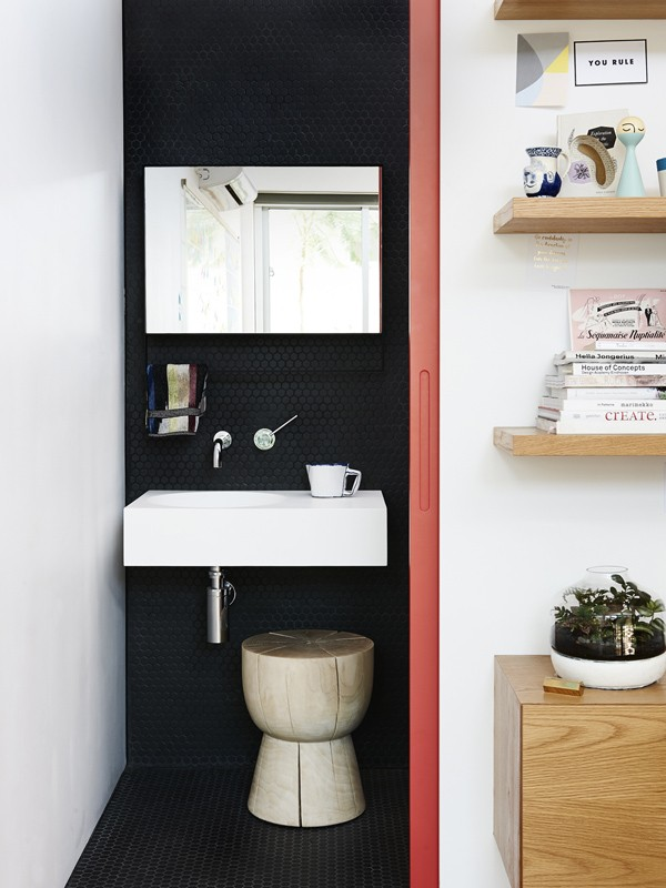 The eggcup makes an appearance in The Design Files founder Lucy Feagin's bathroom. Photo via The Design Files.
