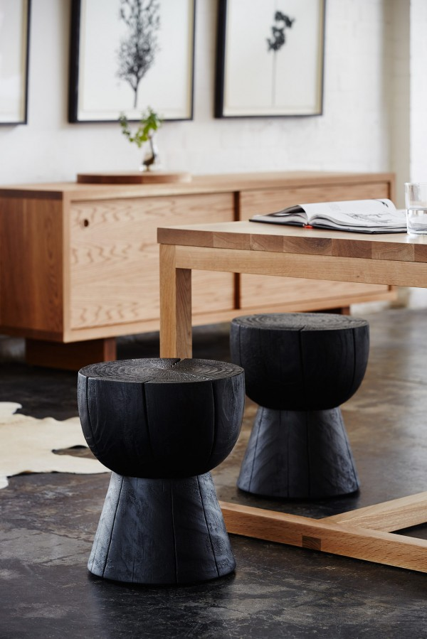 Mark Tuckey's cult furniture Eggcup stools in Scorched.