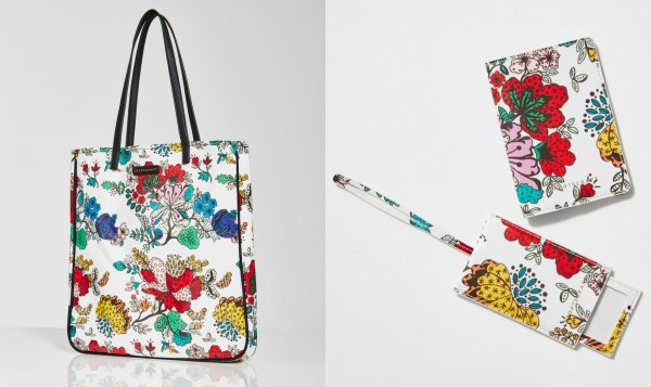 From left to right: Canvas tote, $89.99; luggage tag $49.99; and passport holder $49.99.