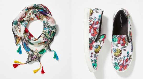 From left to right: Scarf, $79.90; and trainers, $139.99.