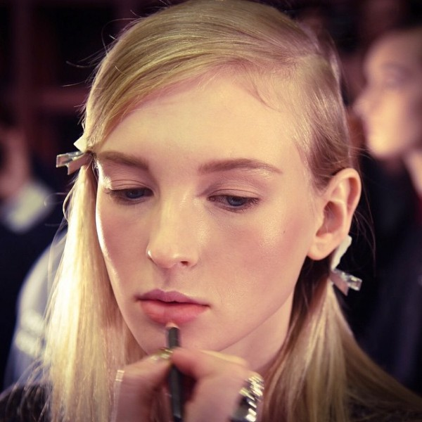 #MACBackstage at @donnakaran #AW15, where @ctilburymakeup used Lip Pencil in Boldly Bare to create minimal, 90s-inspired lips. #NYFW