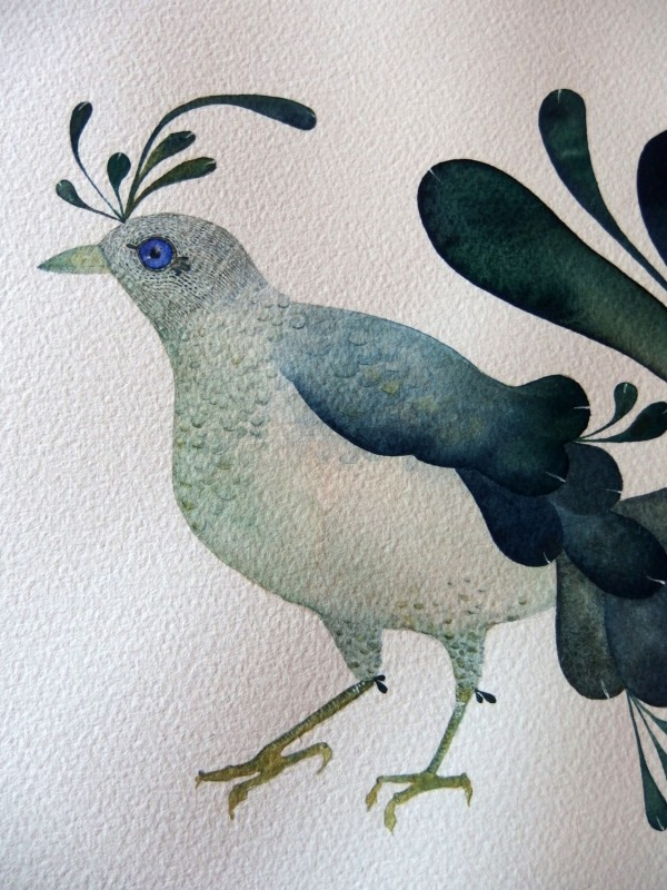 Merbird original watercolour and gouache painting, 7, by Sage and Mage.