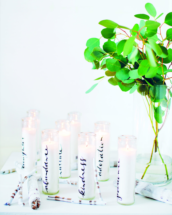 How to make a Caligraphy Candles, from Decorate for a Party by Holly Becker and Leslie Shewring.