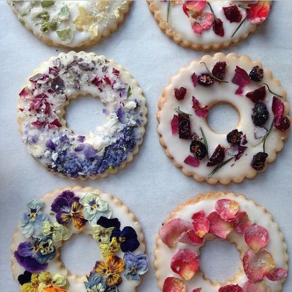 Lavender Shortbread Wreaths with Fruits, Flowers, and Herbs by Bon Appetit.