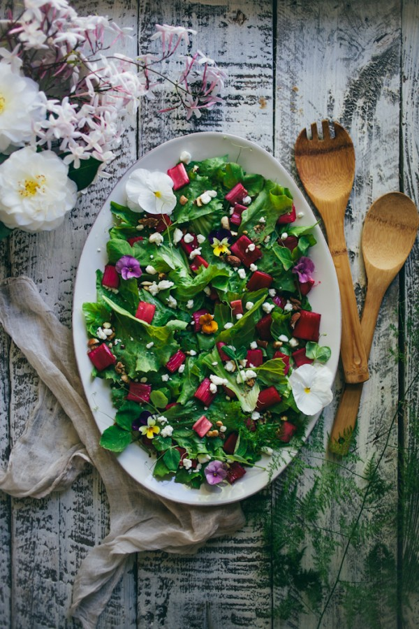 Rhubarb Endive Salad with Violas by Adventures In Cooking.