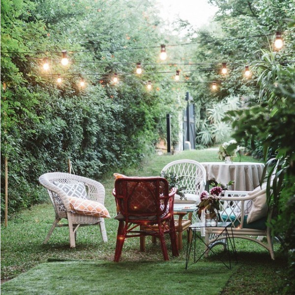 Festoons lighting up this breakout space for Sam & Victoria.