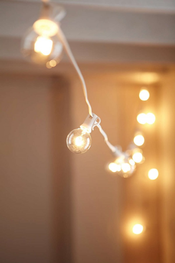 White cord globe string lights from Urban Outfitters.