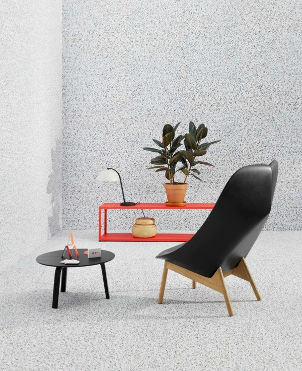 Uchiwa lounge chair by Doshi Levien; Bella coffee table by HAY; New Order red shelf by Stefan Diez; Playing cards by Clara Von Zweigbergk; Bamboo basket selected by HAY; white cloche table light by Lars Beller Fjetland.
