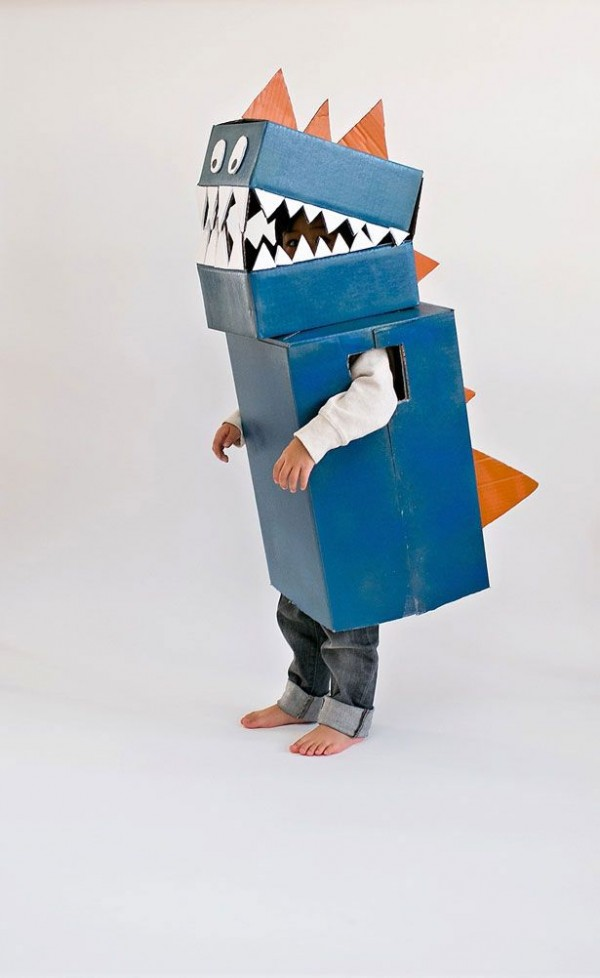 IY cardboard dinosaur costume by Hello Wonderful.