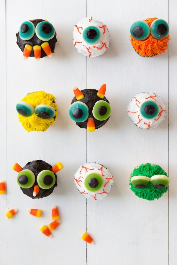 Halloween monster cupcakes by Camille Styles.