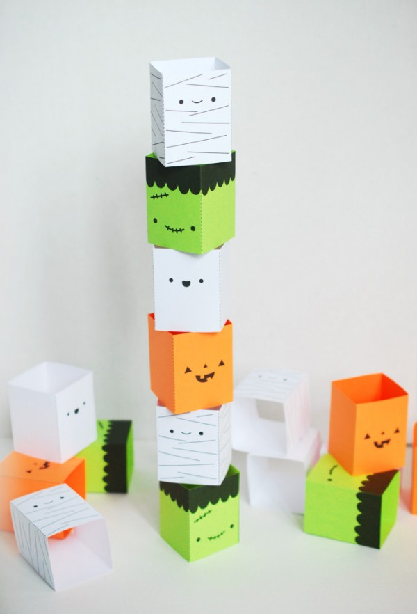Printable silly stackers game for Halloween by Handmade Charlotte.