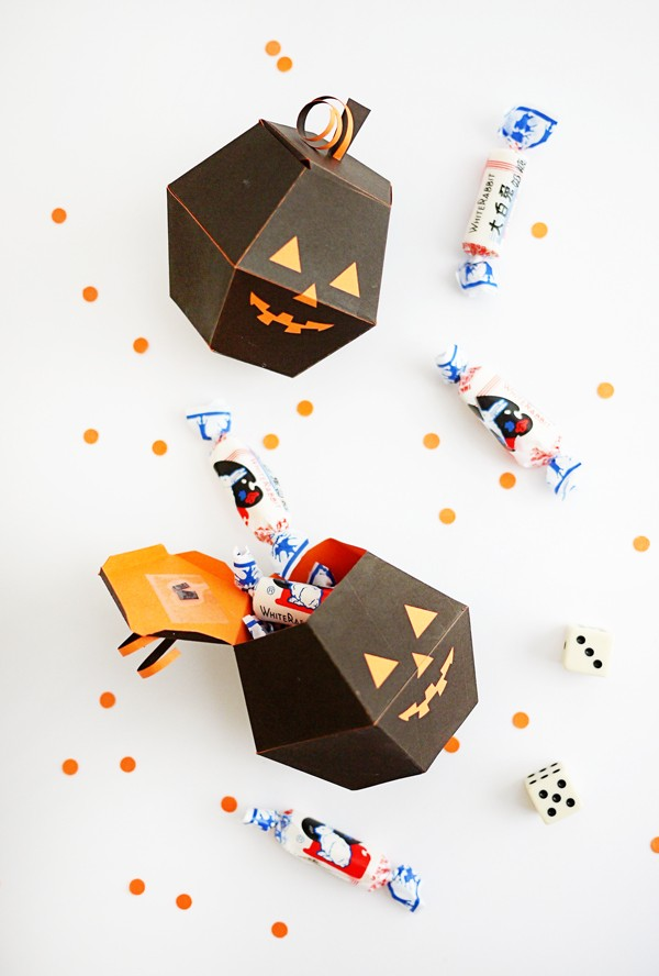 Printable spooky pumpkin boxes by Oh Happy Day.