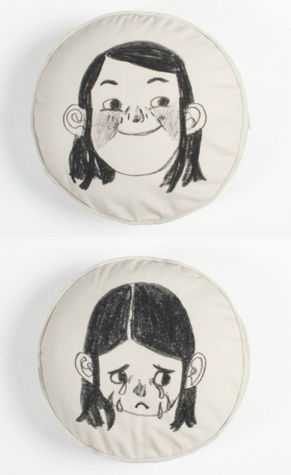 Happy Sad Face Cushion; Print in collaboration with Belgium artist, Mathilde Van Gheluwe, by Such Great Heights.