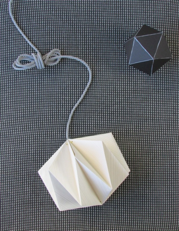 Origami Lampshade Made from Wallpaper by Francoise et Moi.