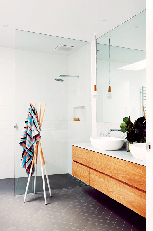 The bathroom of Lauren and Matt Wilson's Geelong home for Open for Inspection with Inside Out magazine via We-Are-Scout.com.