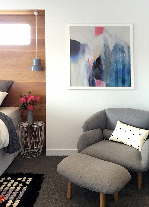 The master bedroom at Lauren and Matt Wilson's Geelong home for Open for Inspection with Inside Out magazine via We-Are-Scout.com.