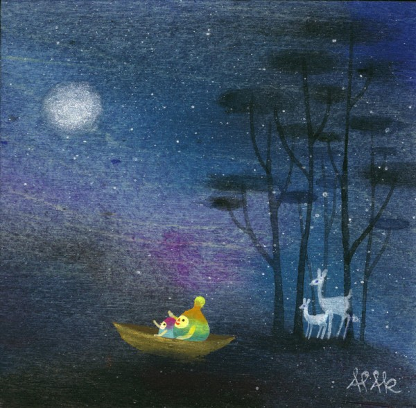 Moon Gazing by APAK. Artwork available to purchase from Outre.