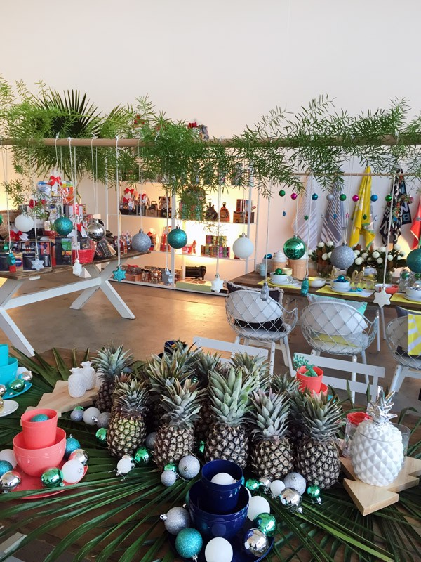 Tropical Christmas themed table setting at Target Australia 2015 Christmas preview.Photo Lisa Tilse for We Are Scout.