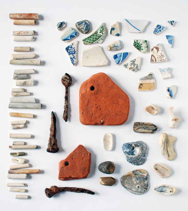 Beachcombing the Thames: my collection of objects found on the banks of the Thames, from Tudor tiles to Elizabethan clay pipes. Photo: Lisa Tilse for We Are Scout