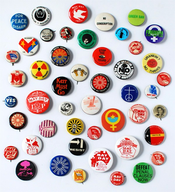 Vintage badge collection, via We Are Scout. Photo: Lisa Tilse for We Are Scout