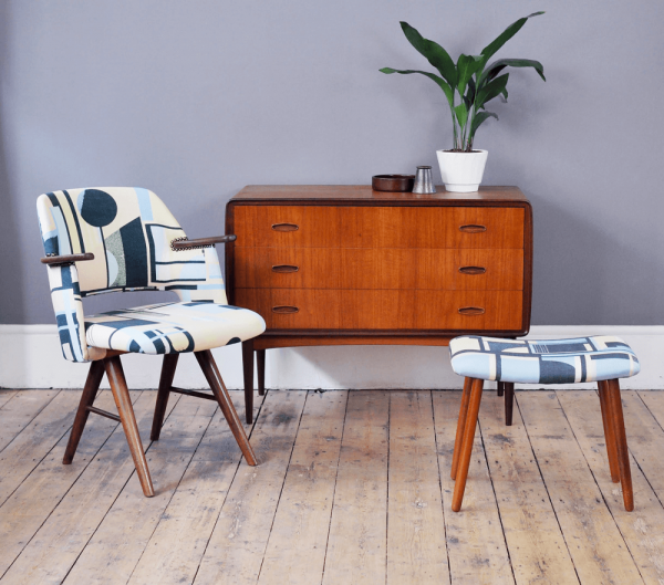 Daniel Clarke's new collection of mid-century-modern-nspired prints, paintings and textiles at Forest London.