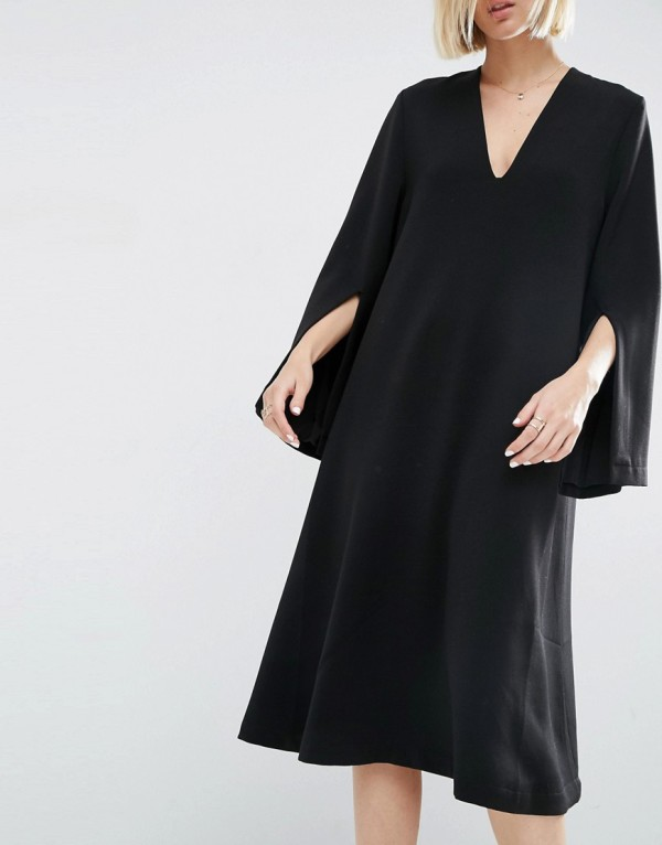The perfect minimalist black dress for in-between seasons:ASOS WHITE Midi Dress With Square V-Neck, via WeeBirdy.com.