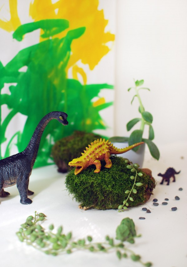 Get creative with your kids: make a fun dinosaur habitat - that looks good in your home, too. Photo: Lisa Tilse for We Are Scout