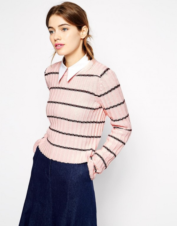 Antipodium High Tide Knitted Jumper in Window Check, now 1.28 (from 2.14) at ASOS.
