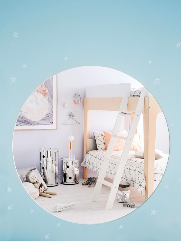 Space-inspired kids' room feature. Styling by Jessica Hanson, Photography by Sam McAdam-Cooper. Inside Out magazine September 2015