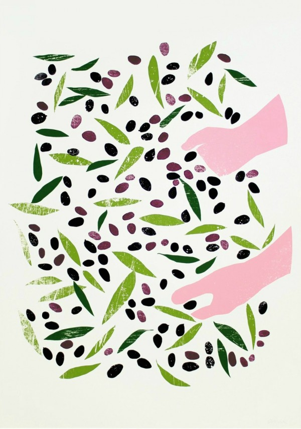 An Olive Harvest Print by Croatian artist, Ana Zaja Petrak