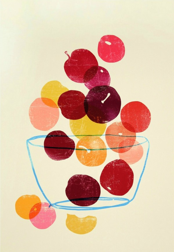 A Peach & Plum Print by Croatian artist, Ana Zaja Petrak.