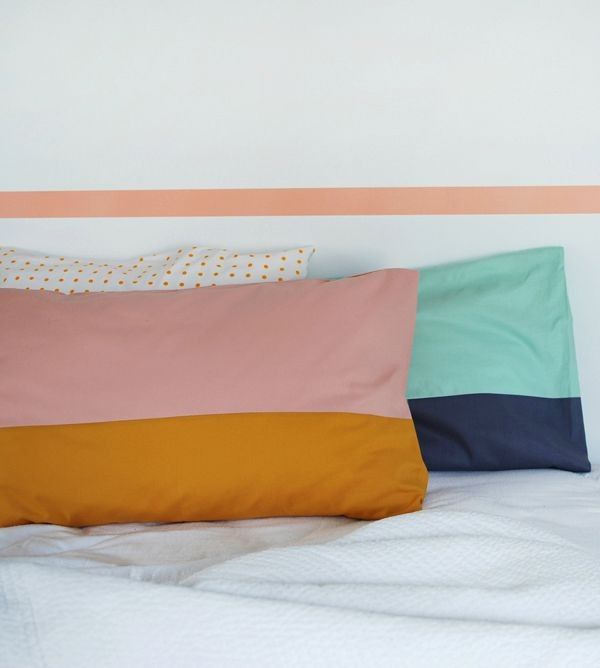How to make colour-block cushion covers by We Are Scout.