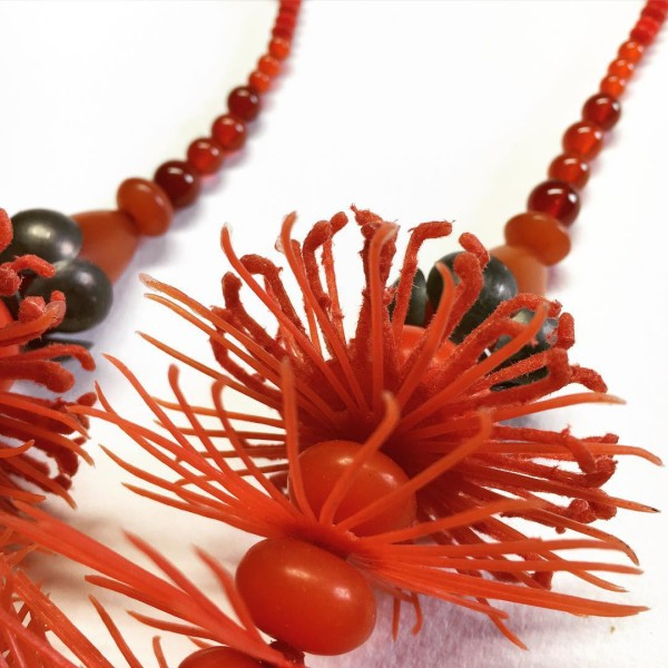 Variegated bottlebrush neckpiece by Melinda Young.