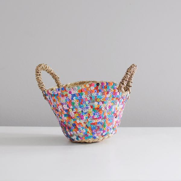 Gorgeous Multi-Coloured Sequin Baskets via Wee Birdy.