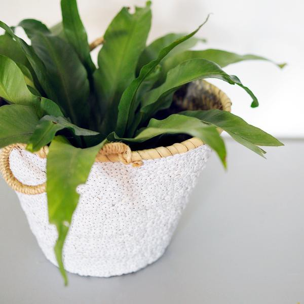 Medium white sequin planter from Meus, via WeeBirdy.com.