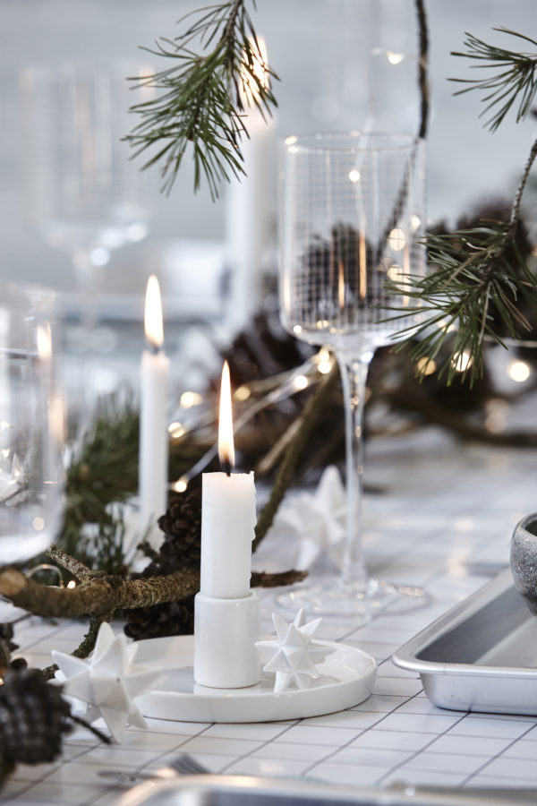 A Nordic-style monochrome Christmas table setting by House Doctor.