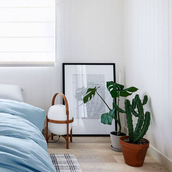 The perfect bedside lamp is also a floor lamp in this low-lying bedroom, by Hunting for George.