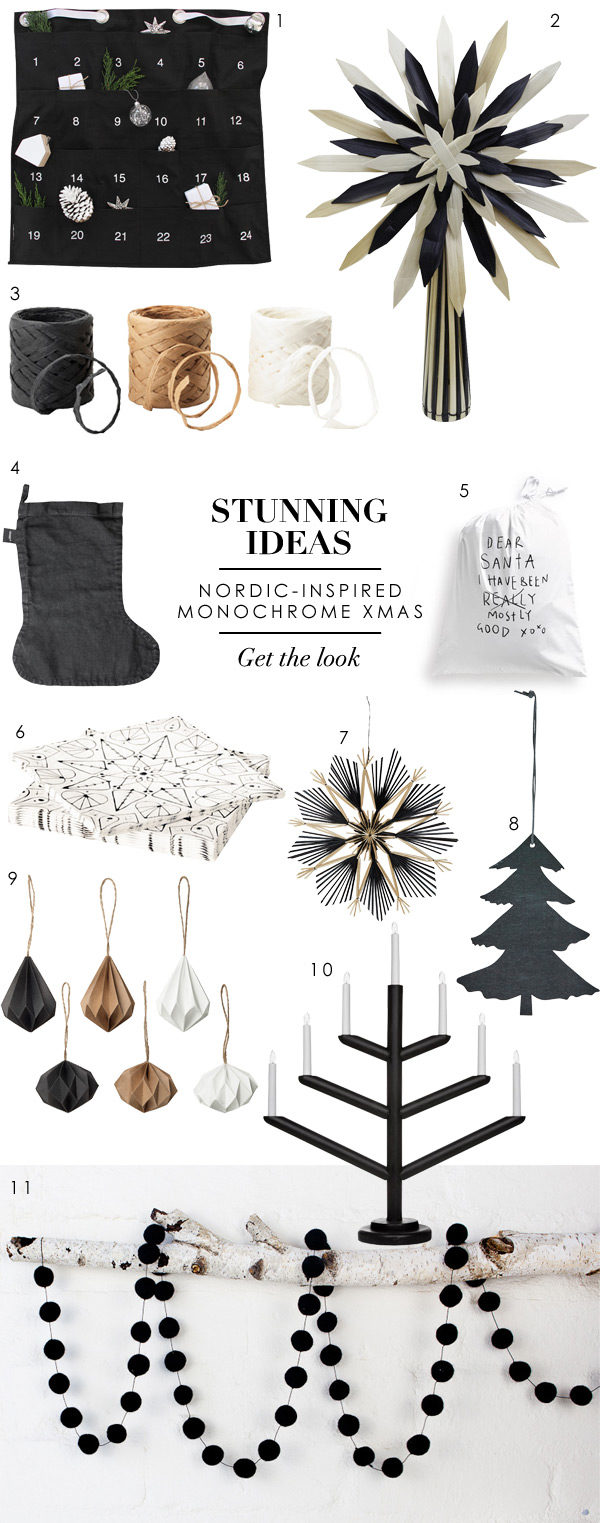 Stunning ideas for a Nordic-inspired monochrome Christmas theme by Wee Birdy.
